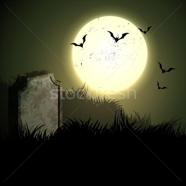 Hátborzongató halloween éjszaka terv illusztráció háttér Stock fotó © Pinnacleanimates