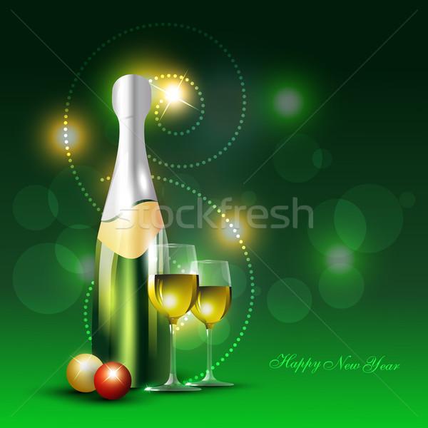 Vektor sörösüveg borospohár fényes bor sör Stock fotó © Pinnacleanimates