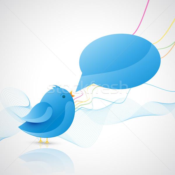 Blu uccello chattare bolla segno web media Foto d'archivio © Pinnacleanimates