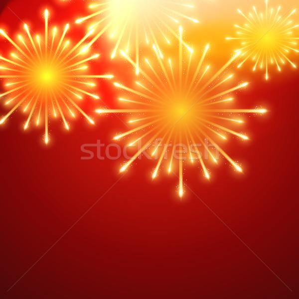 Vektor tűzijáték gyönyörű piros csillag kártya Stock fotó © Pinnacleanimates