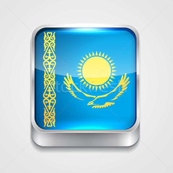 Zászló Kazahsztán vektor 3D stílus ikon Stock fotó © Pinnacleanimates