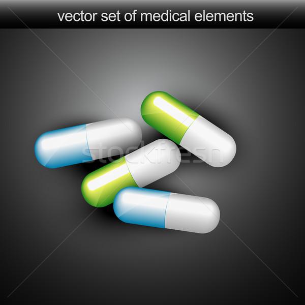 Médicaux vecteur capsules vert bleu couleur Photo stock © Pinnacleanimates