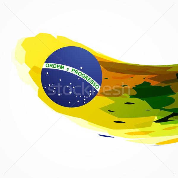 Brasilien Flagge abstrakten farbenreich Design Welle Stock foto © Pinnacleanimates