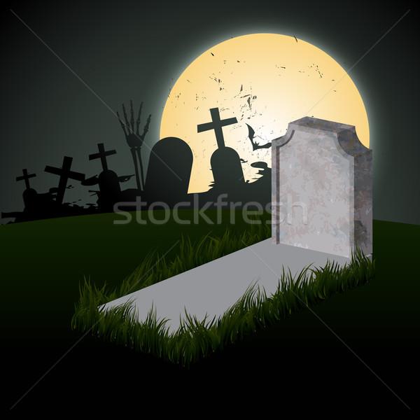 Hátborzongató halloween terv sír hold háttér Stock fotó © Pinnacleanimates
