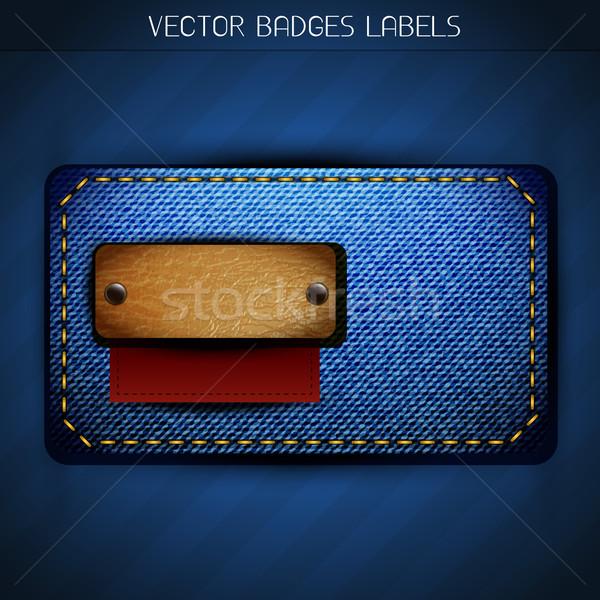 Stockfoto: Jeans · label · ontwerp · vector · stijl · weefsel