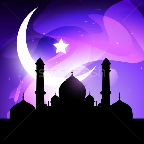 Ramadán vektor illusztráció mecset hold csillag Stock fotó © Pinnacleanimates