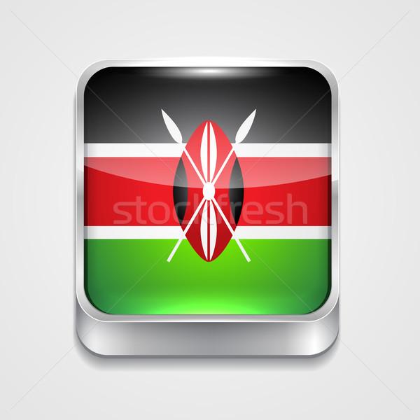 Zászló Kenya vektor 3D stílus ikon Stock fotó © Pinnacleanimates