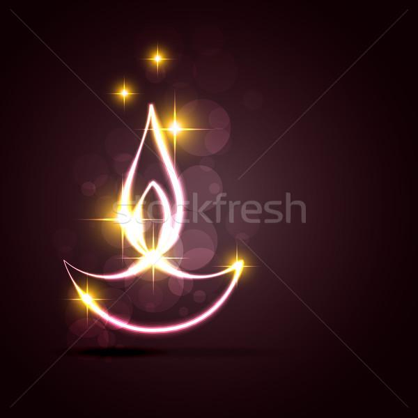 Stock photo: stylish diwali diya on a background