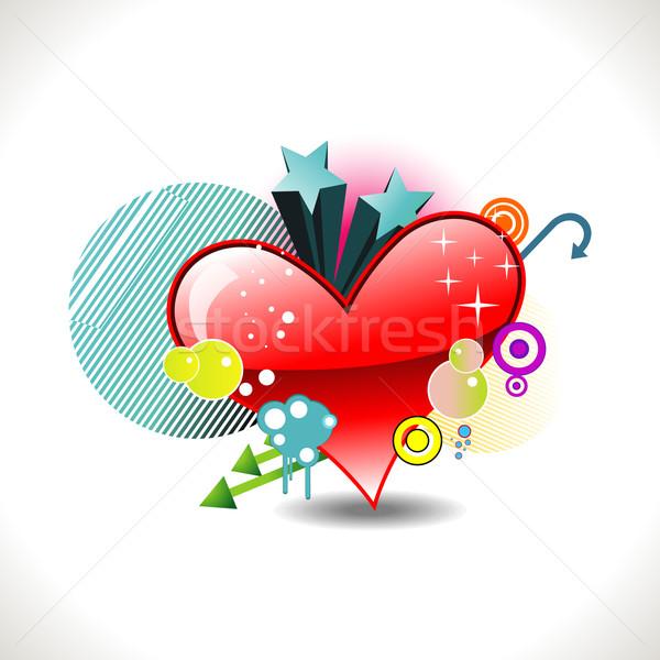 vector funky heart Stock photo © Pinnacleanimates