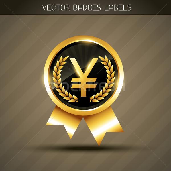 Yen altın simge vektör etiket soyut Stok fotoğraf © Pinnacleanimates