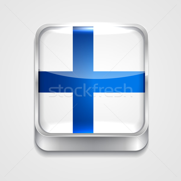 Bandeira Finlândia vetor 3D estilo ícone Foto stock © Pinnacleanimates