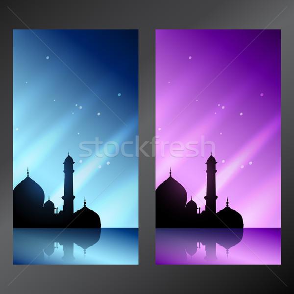 Set banner muslim moschea sfondo Foto d'archivio © Pinnacleanimates