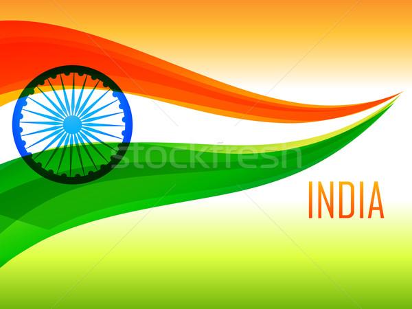 Indio bandera tricolor ola vector diseno Foto stock © Pinnacleanimates
