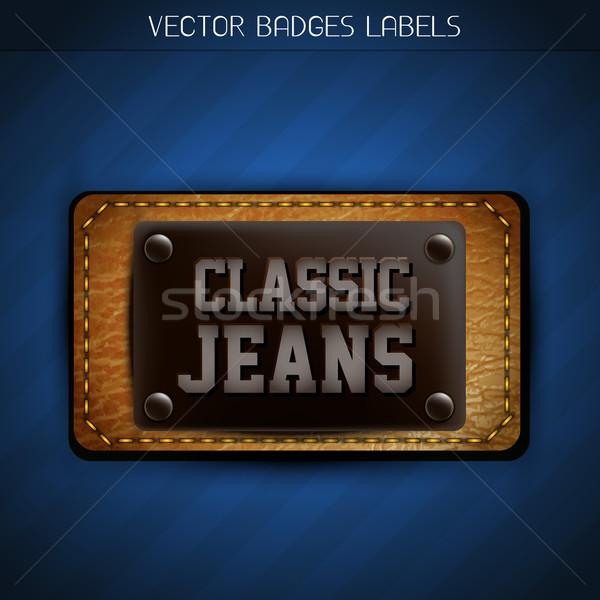 Stockfoto: Klassiek · jeans · label · vector · ontwerp · metaal