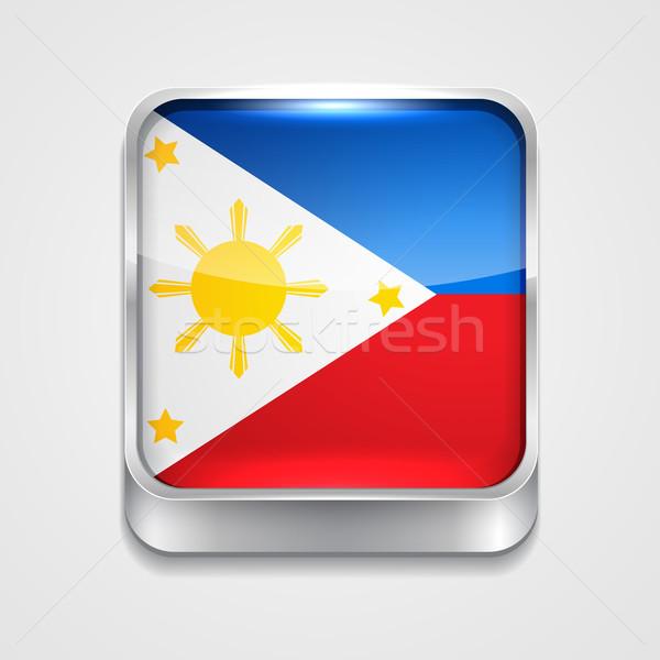Zászló Fülöp-szigetek vektor 3D stílus ikon Stock fotó © Pinnacleanimates