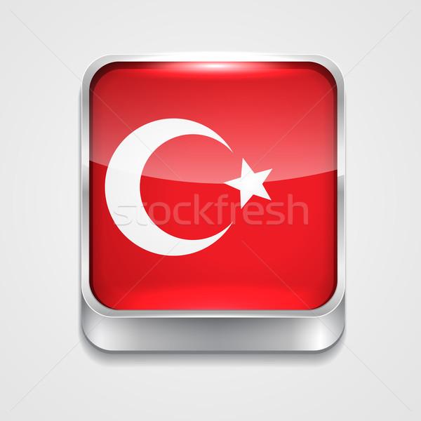 Bandera Turquía vector 3D estilo icono Foto stock © Pinnacleanimates