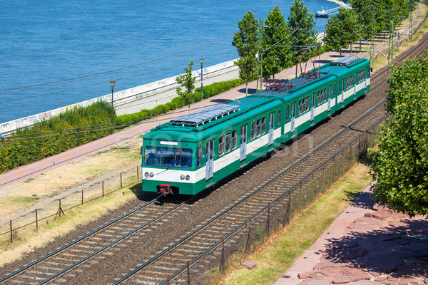 Green suburb train in Budapest Stock photo © pixachi