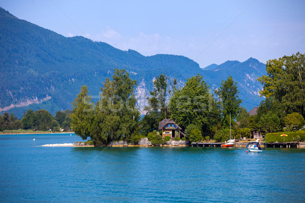 Typical Vacation Lodge on Wolfgang See lake shore, Sankt Wolfgan Stock photo © pixachi