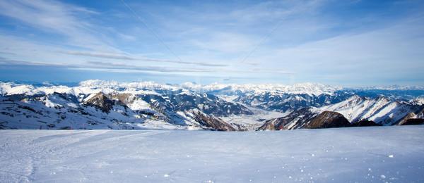 Winter Ski Resort Spitze Wolken Landschaft Stock foto © pixachi