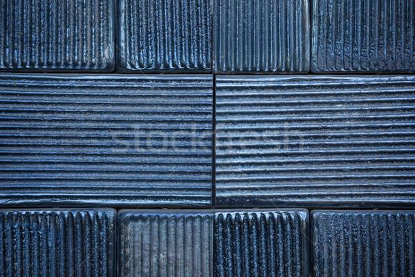 Preto cerâmico azulejos parede textura cozinha Foto stock © pixachi
