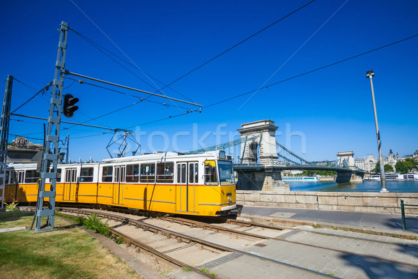 Yellow tram on the river bank of Danube in Budapest Stock photo © pixachi