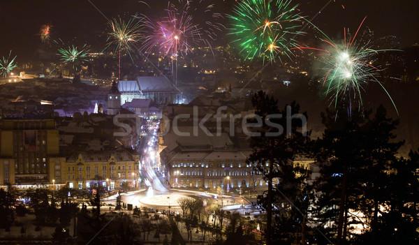 New Year fireworks in Brasov, Romania Stock photo © pixachi