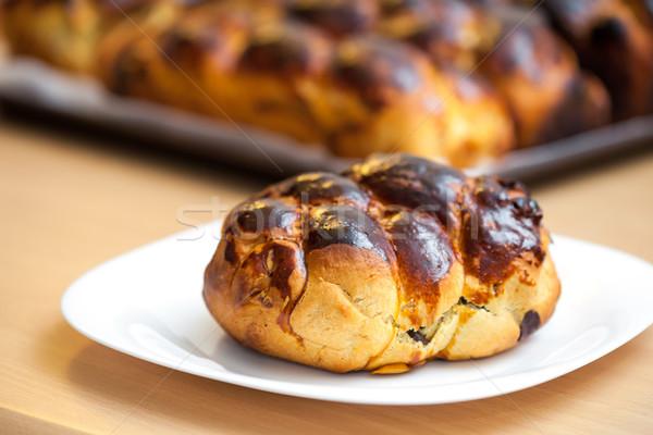 Ter ekmek kuru üzüm çikolata cips gıda Stok fotoğraf © pixachi