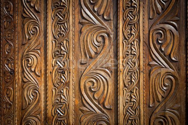 Abstrato floral decoração madeira porta flor Foto stock © pixachi