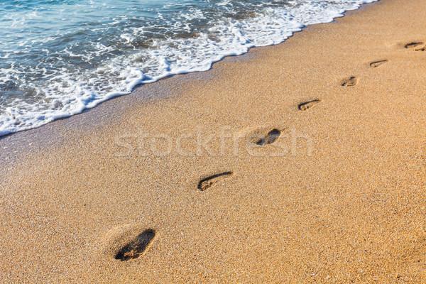 Sandstrand weichen Welle Meer Strand Wasser Stock foto © pixachi