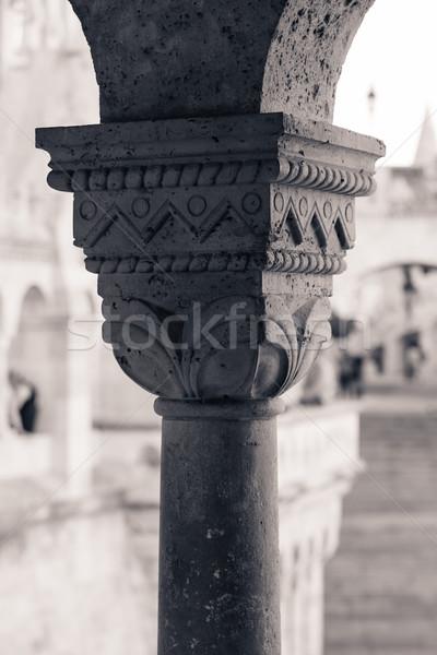 Capitel detail from Buda Castle column Stock photo © pixachi