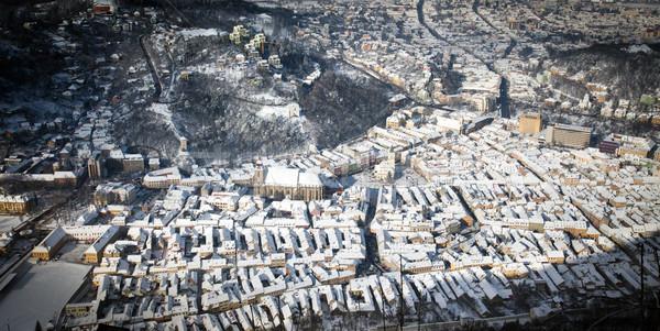 Brasov old city center aerial view Stock photo © pixachi