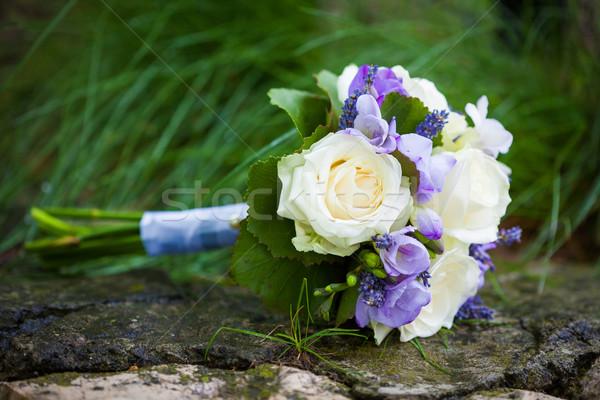 Jaune roses lavande fleurs fleur Photo stock © pixachi