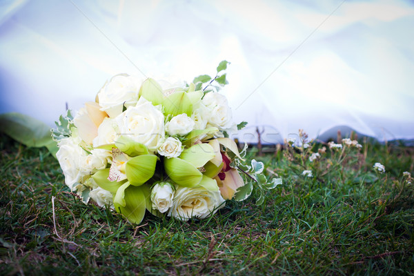 Wedding bouquet with white roses and orchids Stock photo © pixachi