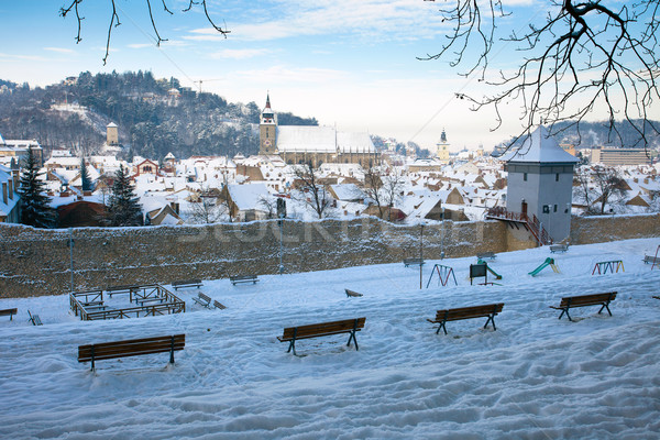 Oude stad panoramisch Roemenië sneeuw Stockfoto © pixachi