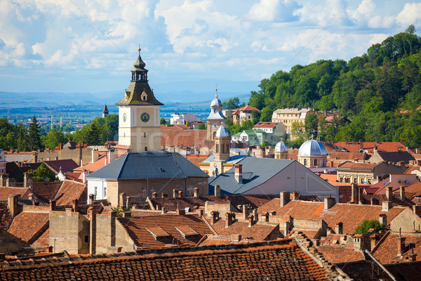 Old Brasov city buildings roof Stock photo © pixachi
