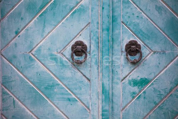 Metal porta madeira fundo segurança Foto stock © pixachi