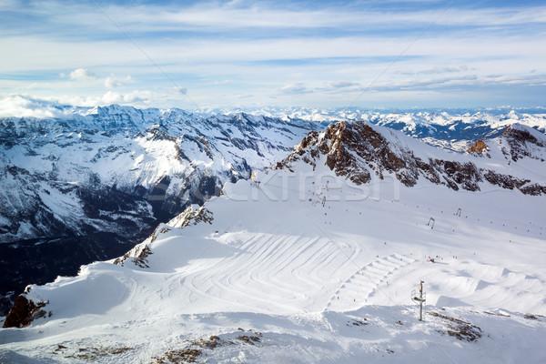 Winter Ski Resort Spitze Landschaft Schnee Stock foto © pixachi