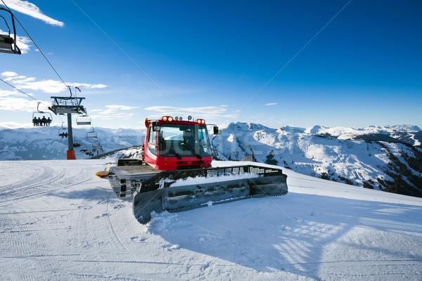 Foto stock: Máquina · nieve · colina · listo · esquí