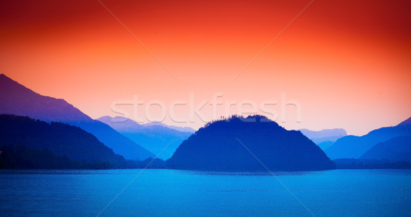 Wolfgang See lake view with Alps mountains on background Stock photo © pixachi