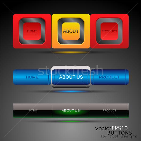 Web design sjabloon navigatie knoppen ontwerp teken Stockfoto © pixachi
