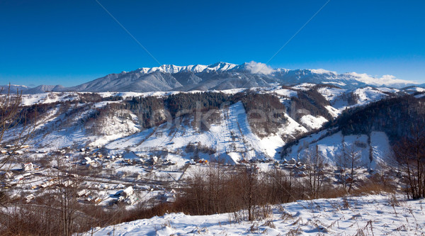 Typical scenic winter view from Bran Castle surroundings Stock photo © pixachi