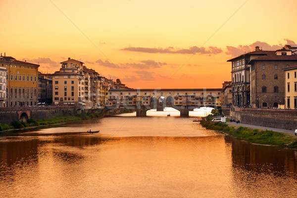 Ponte Vecchio sunset view over Arno  river in Florence Stock photo © pixachi