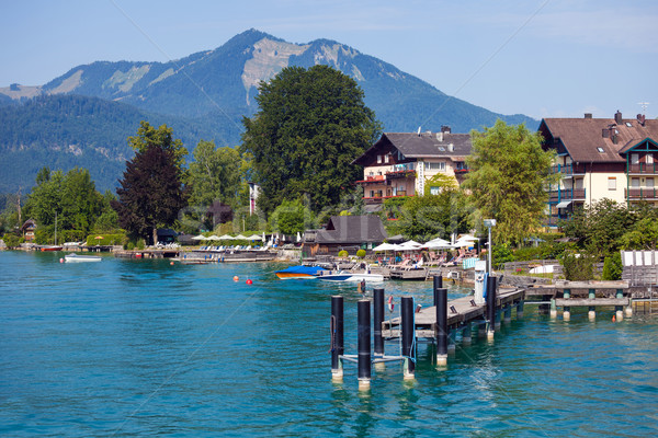 Typical Guests House on Wolfgang See lake shore next to shipbus  Stock photo © pixachi