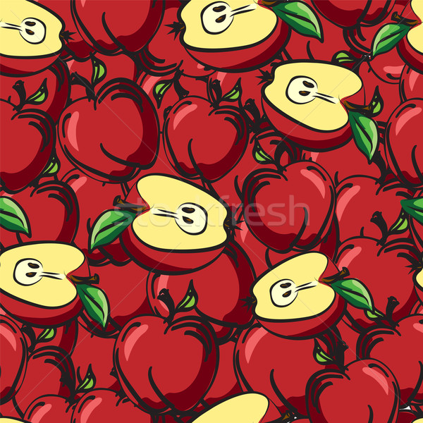 Photo stock: Pommes · fruits · croquis · dessin · feuille
