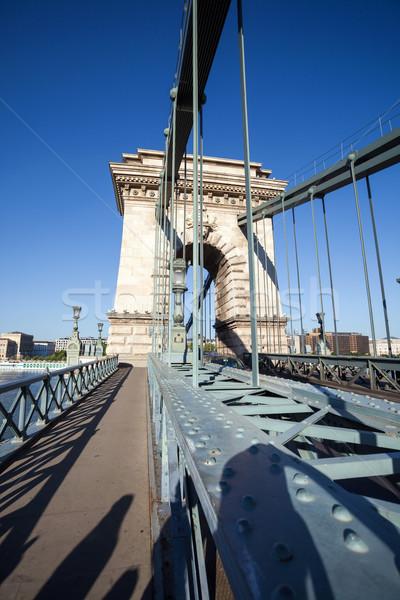 цепь моста Дунай реке Будапешт Венгрия Сток-фото © pixachi