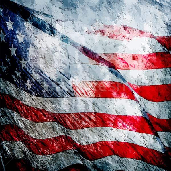 Amerikaanse vlag vintage abstract achtergrond Stockfoto © pixachi