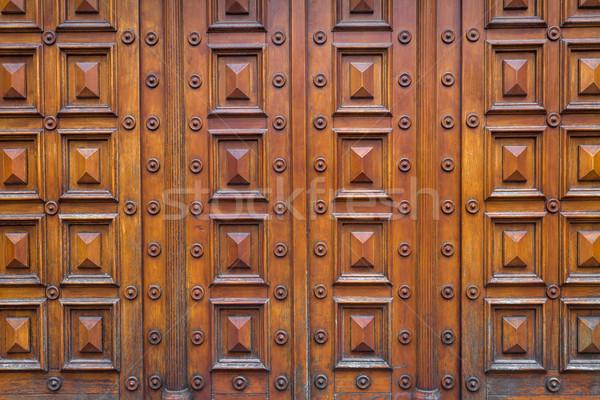 Détail bois maison porte typique Vienne Photo stock © pixachi