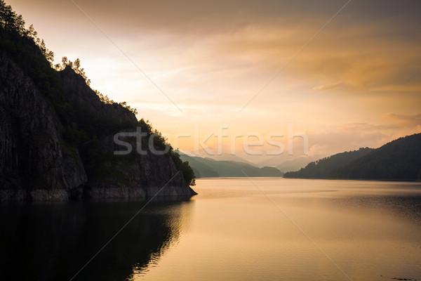 Artificial Lake behind the Bicaz Dam at sunset Stock photo © pixachi