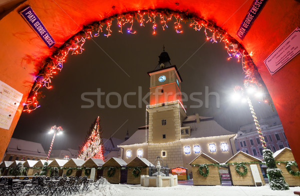 Brasov Council House night view decorated for Christmas Stock photo © pixachi