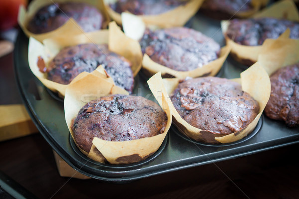 Chocolate muffins with blueberry on cooking pan Stock photo © pixachi